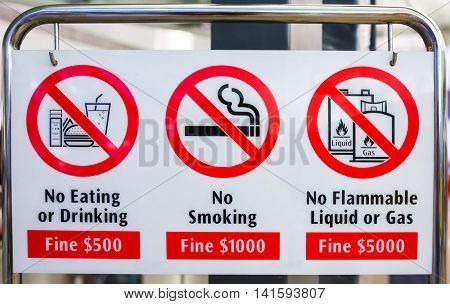 Singapore - June 23, 2016: Various bans sign in Singapore. Singapore is famous for its numerous bans and limits.