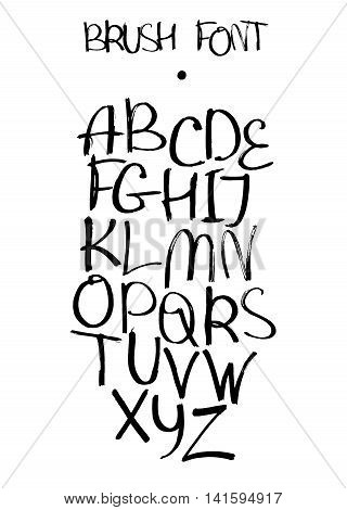 Vector isolated on white background hand drawn alphabet from A to Z drawn with brush and liquid ink. Freehand style font good for lettering or creative writing. Capital english letters