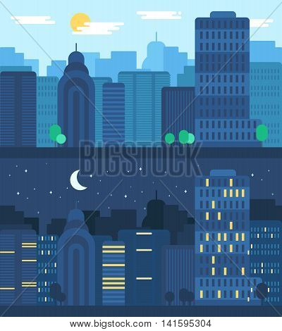 Day and Night City Life Concept. Town street. Urban Landscape Banner with buildings trees shop stores sky and sun. Vector