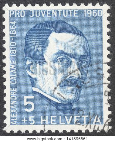 MOSCOW RUSSIA - CIRCA MAY 2016: a post stamp printed in SWITZERLAND shows a portrait of Alexandre Calame the series
