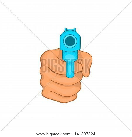 Hand pointing with the gun icon in cartoon style on a white background