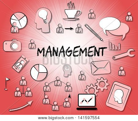 Management Icons Shows Authority Symbol And Head
