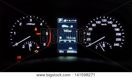illuminated instrument panel with the passenger car