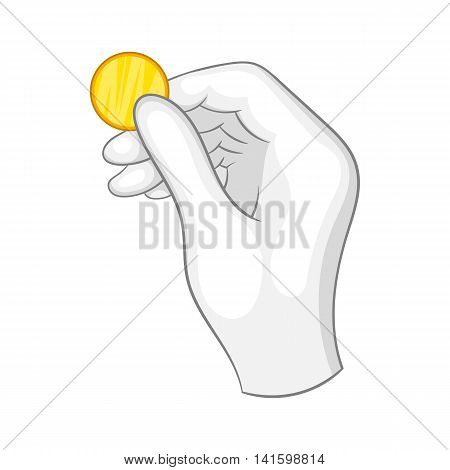 Hand in a white glove holding a gold coin icon in cartoon style on a white background