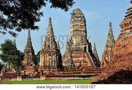 Ayutthaya Thailand - December 21 2010: Ruins of 1629 Wat Chai Wattanaram with its central Prang representing Mount Meru the abode of the gods