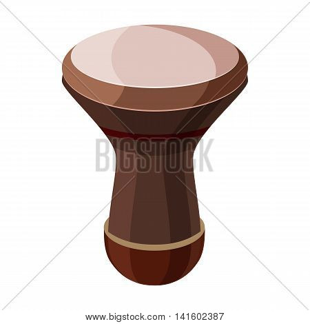 Darbuka, percussive musical instrument icon in cartoon style on a white background