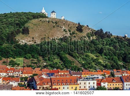 Mikulov Czech Republic - May 17 2015. Saint Sebastian Chapel on so called Holy Hill in small Mikulov city in South Moravian Region