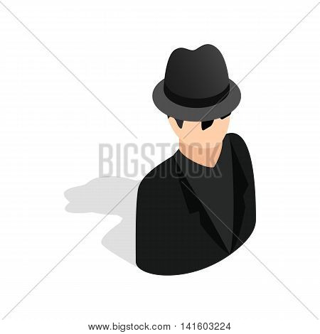 Man in black sunglasses and black hat icon in isometric 3d style on a white background