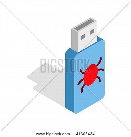 Infected USB flash drive icon in isometric 3d style on a white background