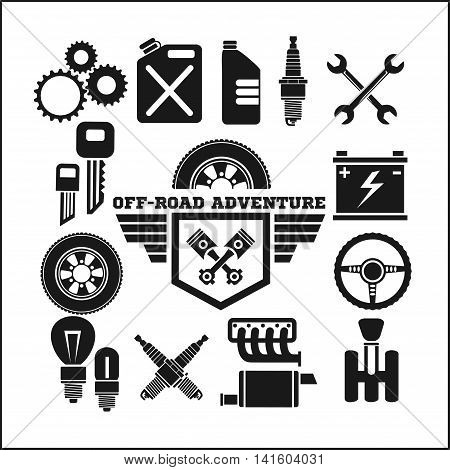 off-road adventure and car parts icon vector set