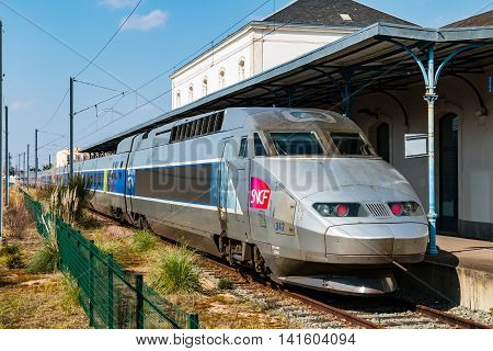 Sables d'Olonnes France - March 31 2016 : TGV (high speed train) French to stop at a station during the strike of the railway workers March 31 2016 against the reform of the labor code