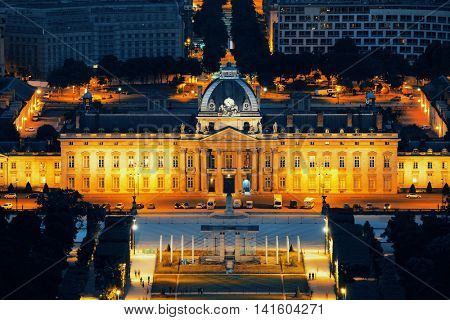 PARIS, FRANCE - MAY 13: Historical Ecole Militaire complex at night on May 13, 2015 in Paris. With the population of 2M, Paris is the capital and most-populous city of France