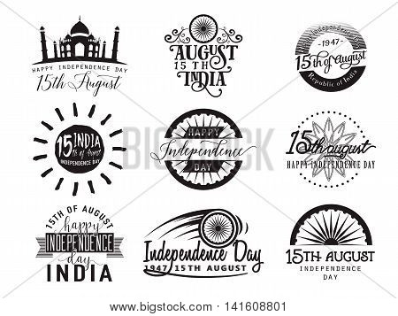 Vector illustration of India independence day. Felicitation 15th august. Greeting template for web or print emblem, badge, label, logo design. Indian flag element isolated on white background