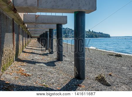 A view of a walkway that is under construction at Redondo Beach Washington.