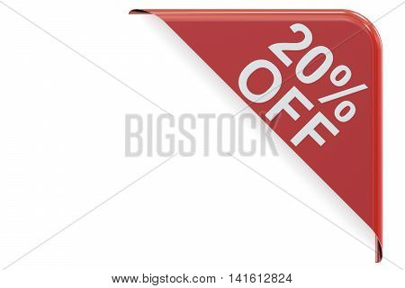 sale and discount concept 20% off. Red corner 3D rendering isolated on white background