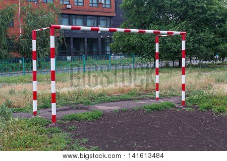 Football goal in the school playground. Sport