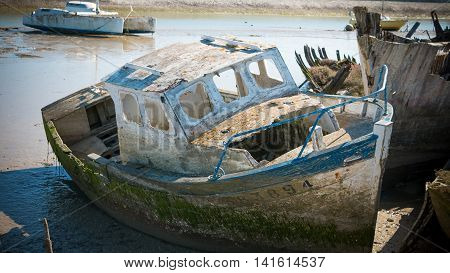 Rustic Boats On A Ship Graveyards