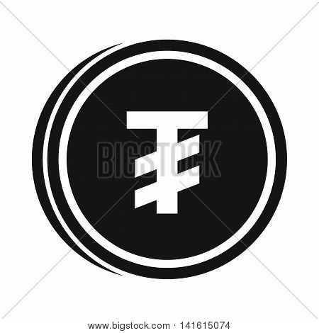 Tugrik coin icon in simple style isolated on white background. Monetary currency symbol