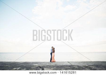 Wedding couple, bride, groom walking and posing on pier.