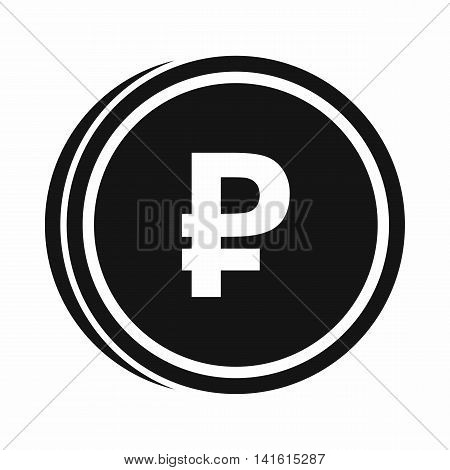 Coin ruble icon in simple style isolated on white background. Monetary currency symbol