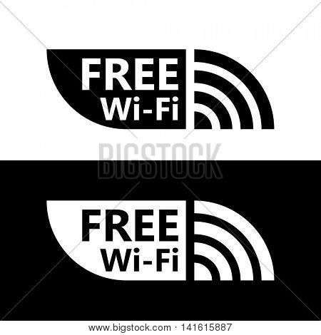 Free wifi icon. Wireless hotspot symbol. Vector free w-ifi sign with black and white background. Wireless Network icon for wlan free access design.