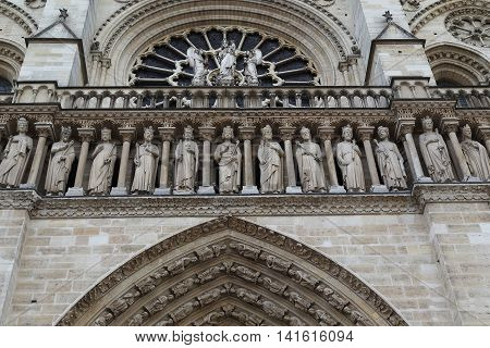 PARIS, FRANCE - MAY 13, 2015: This is part of the gallery of kings in the cathedral of Notre Dame de Paris depicting the kings of the Old Testament.