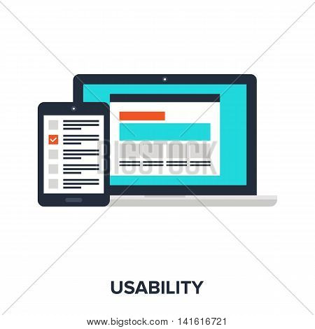 Vector illustration of usability evaluation flat design concept.