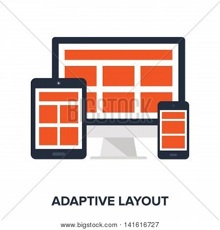 Vector illustration of adaptive layout flat design concept.