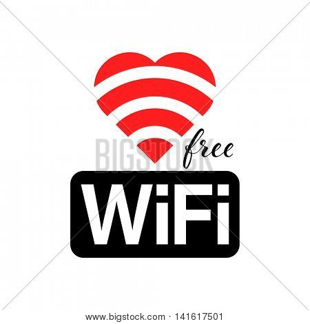 Free wifi vector symbol with wireless signal in red heart shape. Free wifi hotspot tag in black and red color