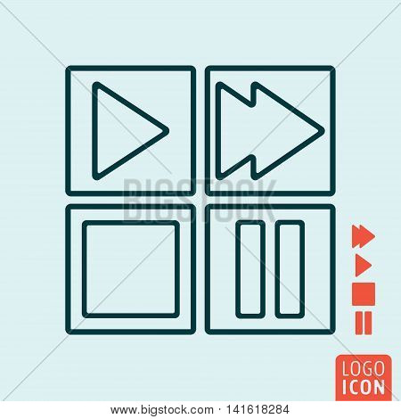 Play, stop, forward and pause button icon. Media controls symbol. Vector illustration
