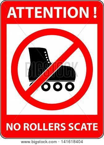 No skate, rollerskate, roller-skates and skating prohibited symbol. Sign indicating the prohibition or rule. Warning and forbidden. Flat design. Vector illustration. Easy to use and edit. EPS10.
