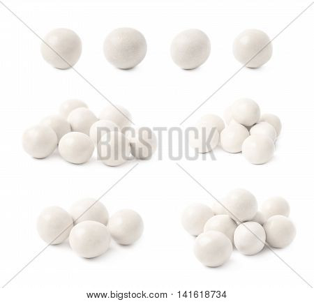 Sugar coated glazed ball candy isolated over the white background, set of multiple different foreshortenings