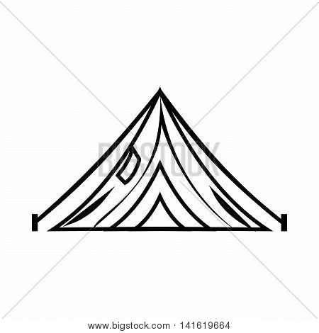 Tent icon in outline style isolated on white background. Tourism symbol