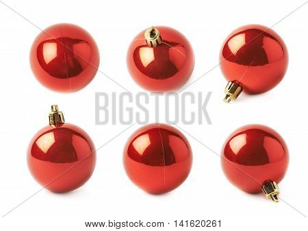 Single red Christmas tree ball decoration isolated over the white background, set of six different foreshortenings