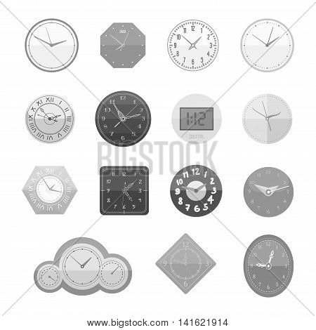 Clocks face dial watch alarm vector illustration. Clock face icon isolated on white background. Clocks, watch silhouette. Old, retro, modern and fashion clocks. Time tools icons, alarm, watch icons