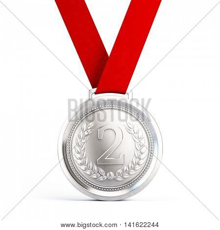 Second place Silver medal with red ribbon isolated on white background - 3d illustration