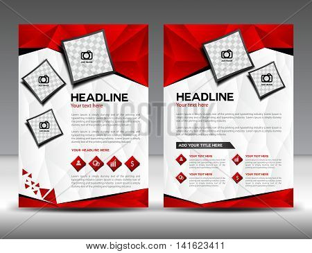 Set of red business brochure flyer design layout template in A4 size, newsletter, Leaflet, poster, flyer layout, vector ,Catalog , Magazine ads