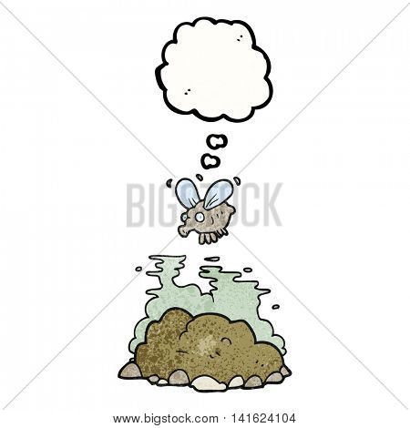 freehand drawn thought bubble textured cartoon fly and manure