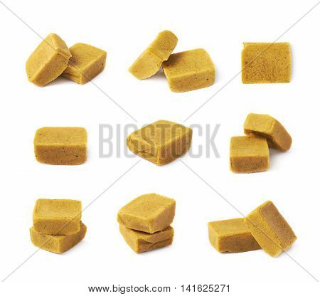 Bouillon stock broth cube isolated over the white background, set of multiple different foreshortenings