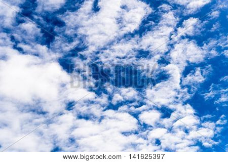 Azur Blue Sky With Small White Cumulus Clouds