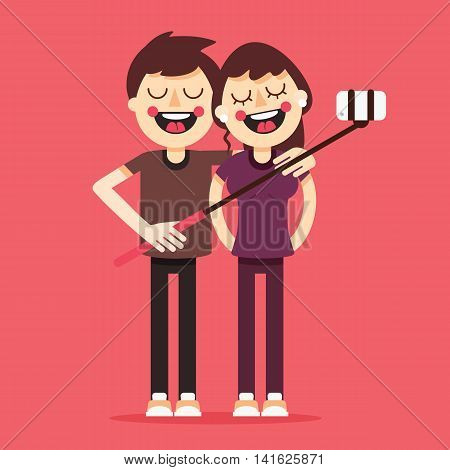 Vector creative character design on young couple standing full length trying to make a self portrait together with mobile device and selfie stick in hand. Flat cute new design. Great colors.