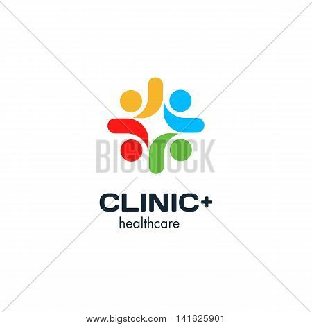 Isolated colorful cross vector logo. Medical symbol with clinic writing. People holding hands logotype. Friendship and union illustration. International communication sign