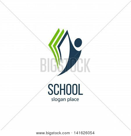 Isolated abstract human silhouette with book vector logo. School and university logotype. Education illustration. Studying sign. Student image.Minimalistic symbol