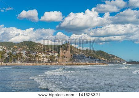 Large Church In Sitges, Spain