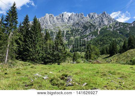 View of Wilder Kaiser Mountains summer alpine landscape Austria Tyrol.