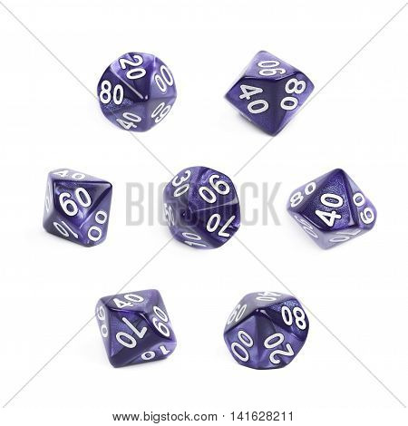 Violet roleplaying polyhedral heptagonal trapezohedron gaming plastic dice isolated over the white background, set of seven different foreshortenings