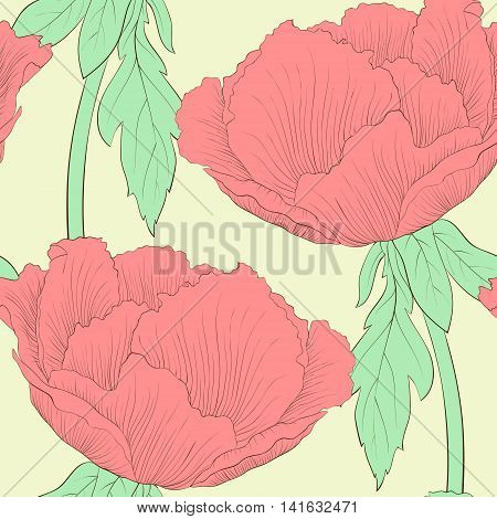 Beautiful seamless background with flowers Plant Paeonia arborea (Tree peony) with stem and leaves. Hand-drawn contour lines and strokes.