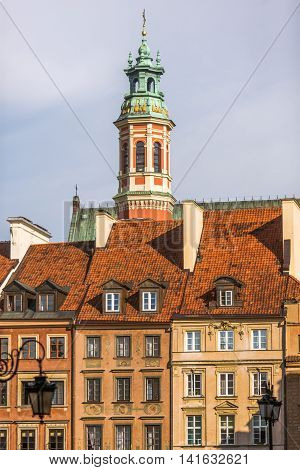 Historical Buildings And Inlaid Windows In Warsaw, Poland