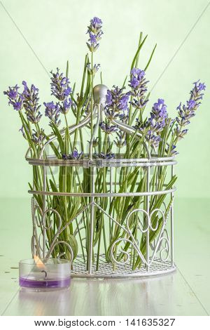 The metal basket of lavender purple flowers