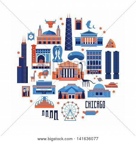 Blue and red vector set of Chicago' famous landmarks. Flat style designed historic buildings sightseeing and known museums on white background. poster